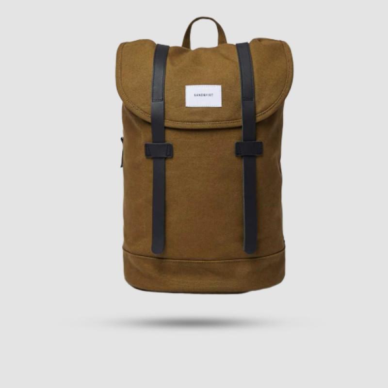 Backpack - Sandqvist - Stig Dark Olive With Black Leather