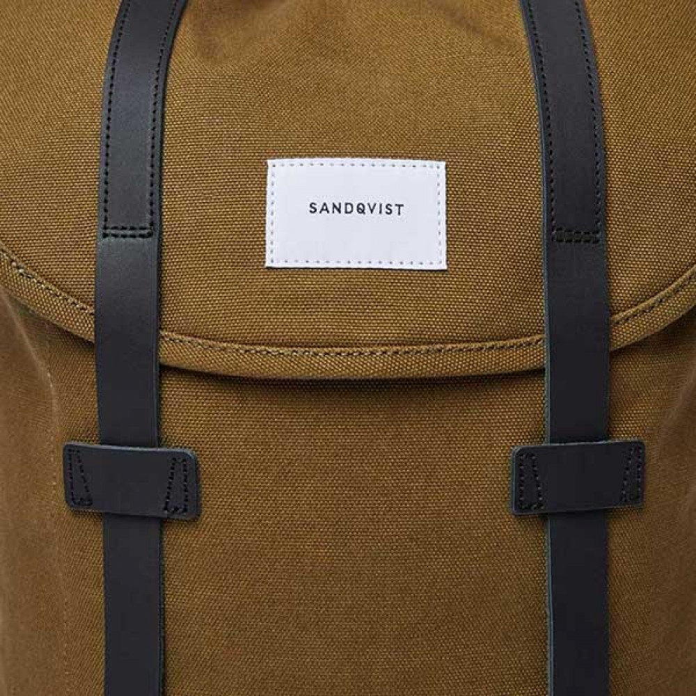 Backpack - Sandqvist - Stig Dark Olive With Black Leather