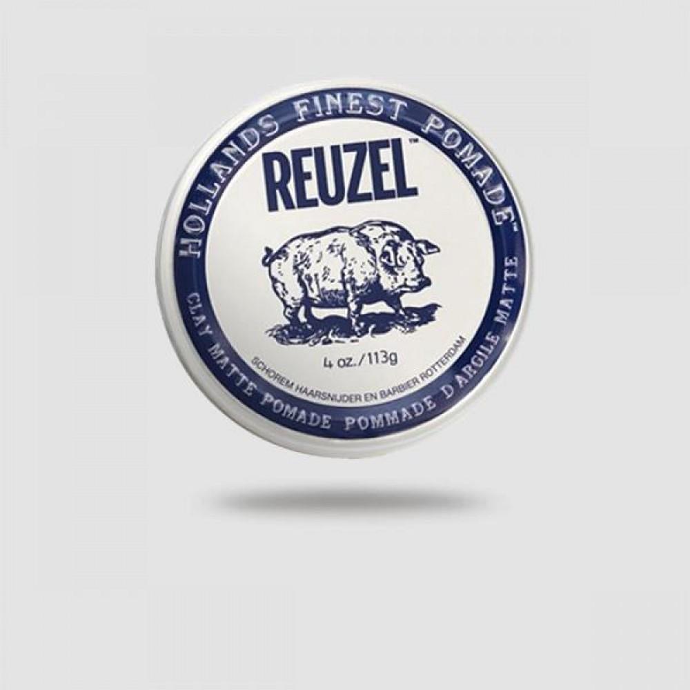 Πομάδα Για Μαλλιά - Reuzel - Clay Matte, Με Δυνατό Κράτημα 113g