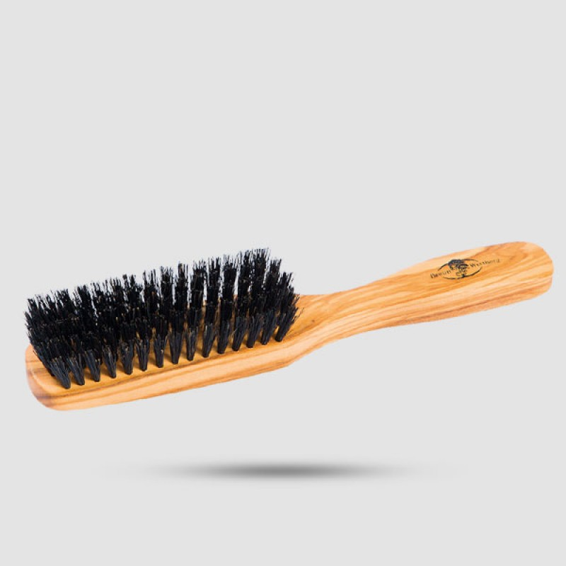 Wooden Oblong Hairbrush With 100% Strong Natural Bristle And Olive Wood