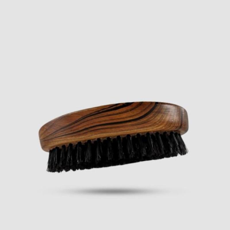 Ξύλινη Γυαλιστερή Βούρτσα Γενειάδας Με Σκουρόχρωμες 100% Φυσικές Τρίχες Αγριόχοιρου