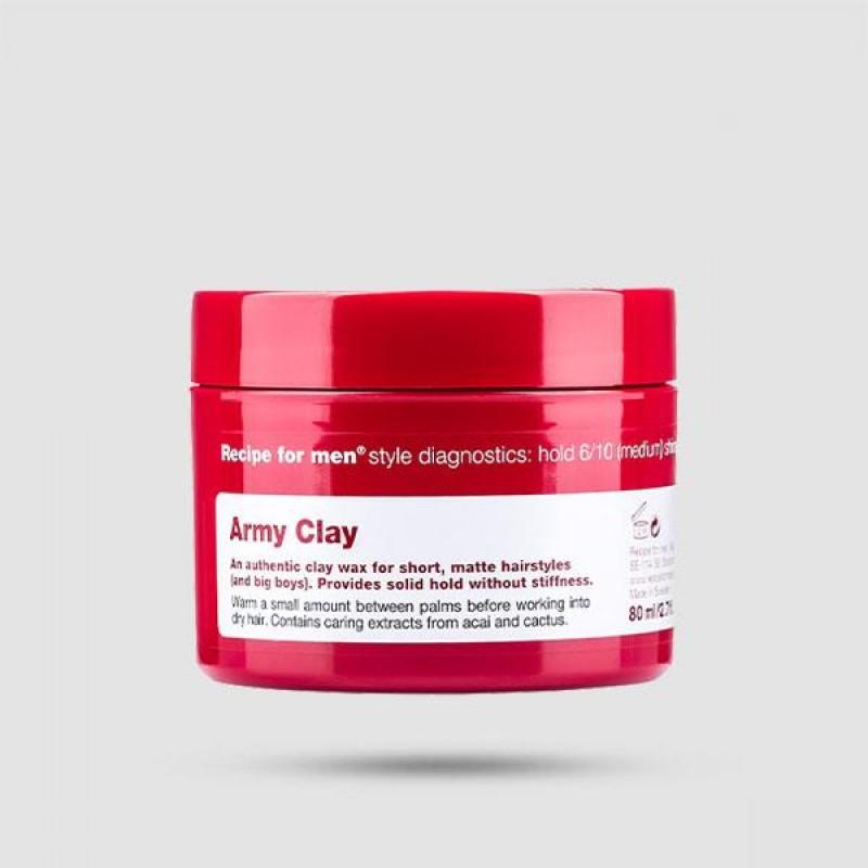 Πηλός Για Μαλλιά - Recipe For Men - Army Clay 80ml